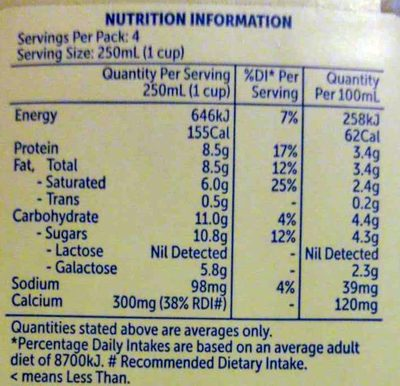Free From Lactose Full Cream Milk - Nutrition facts