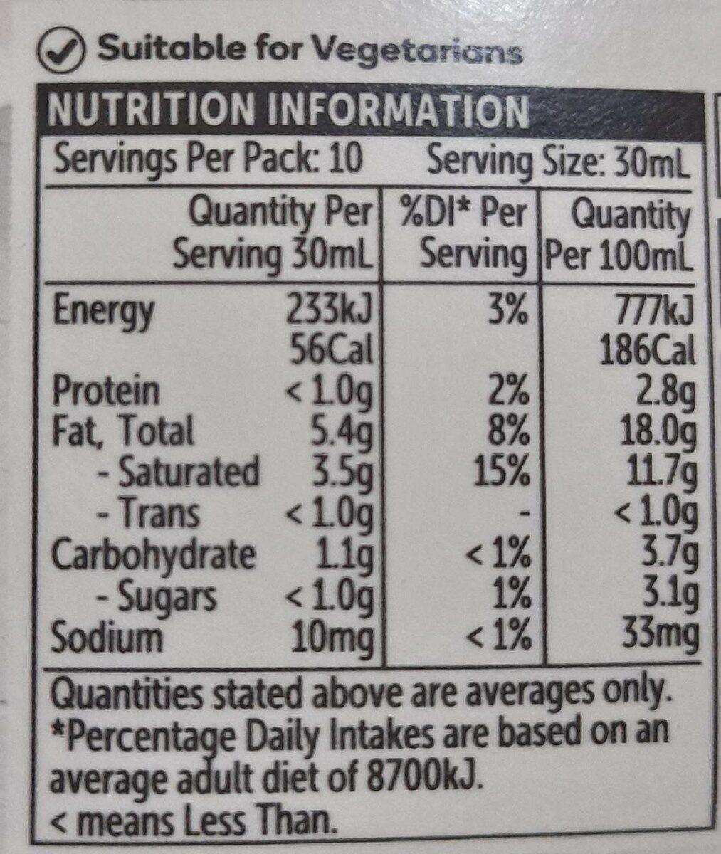 Light Sour Cream - Nutrition facts - en