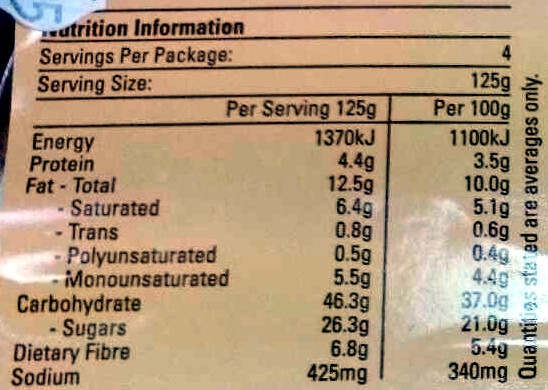 Bakehouse Apple Pie - Nutrition facts