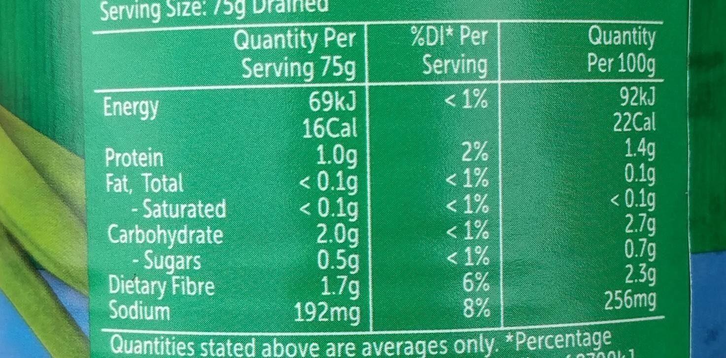 Sliced Green Beans - Nutrition facts - en