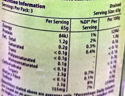 Haricots verts en morceaux - Nutrition facts