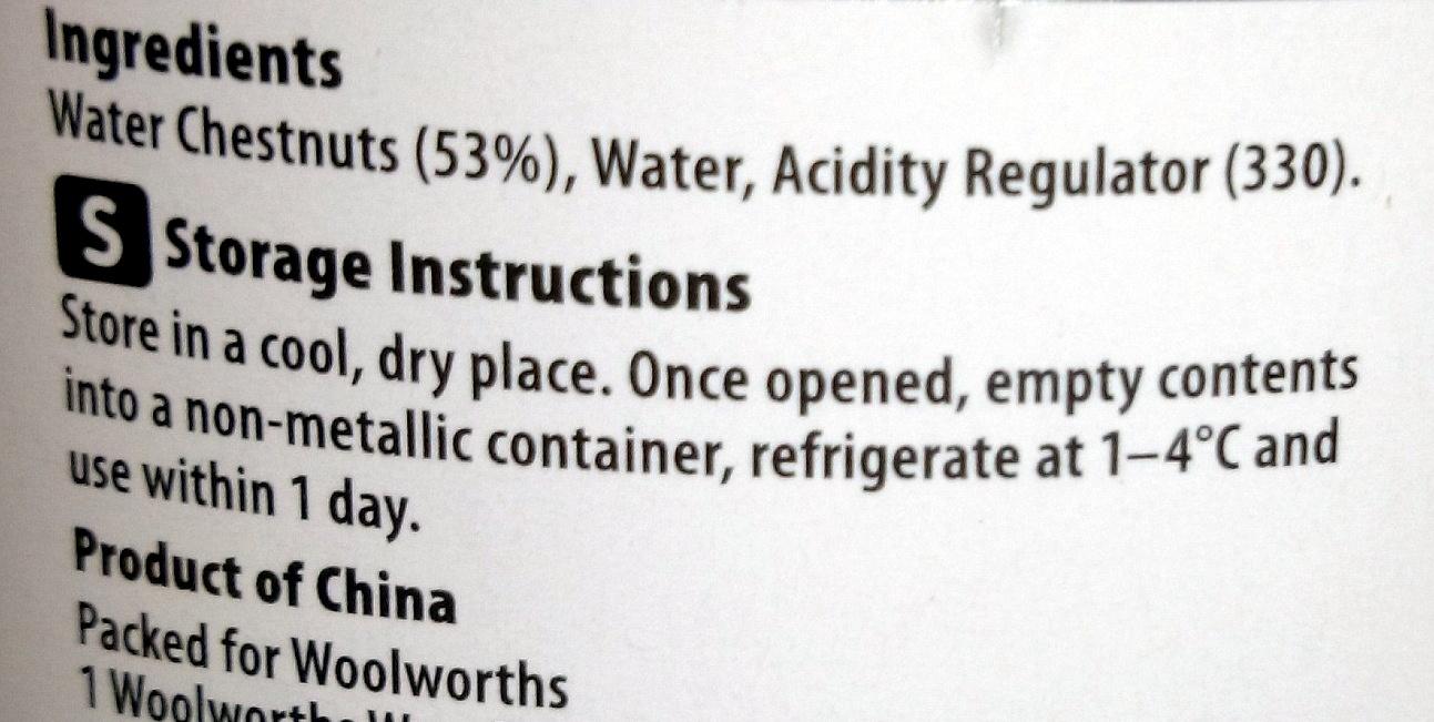 Homebrand Water Chestnuts - Ingredients - en