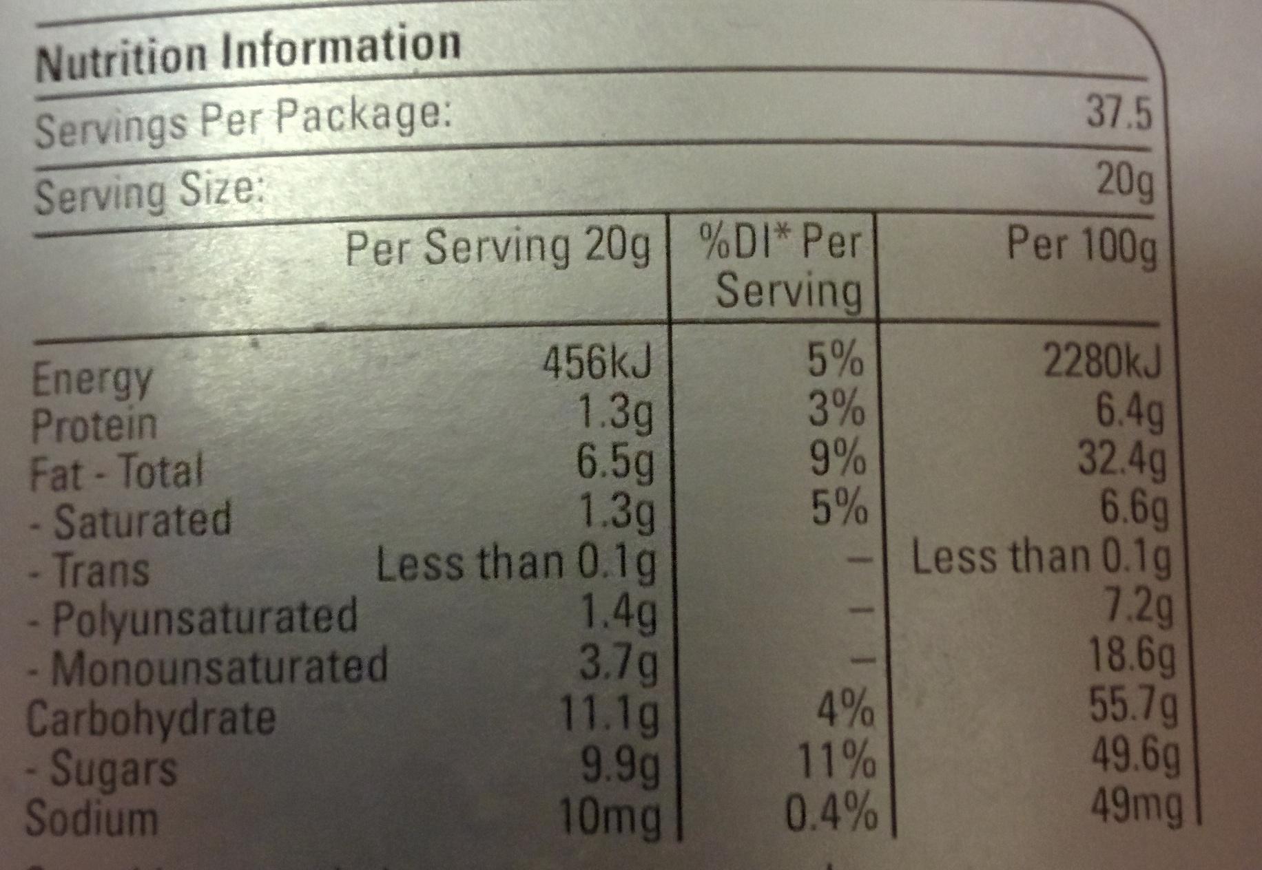 Hazelnut Spread - Voedingswaarden - en
