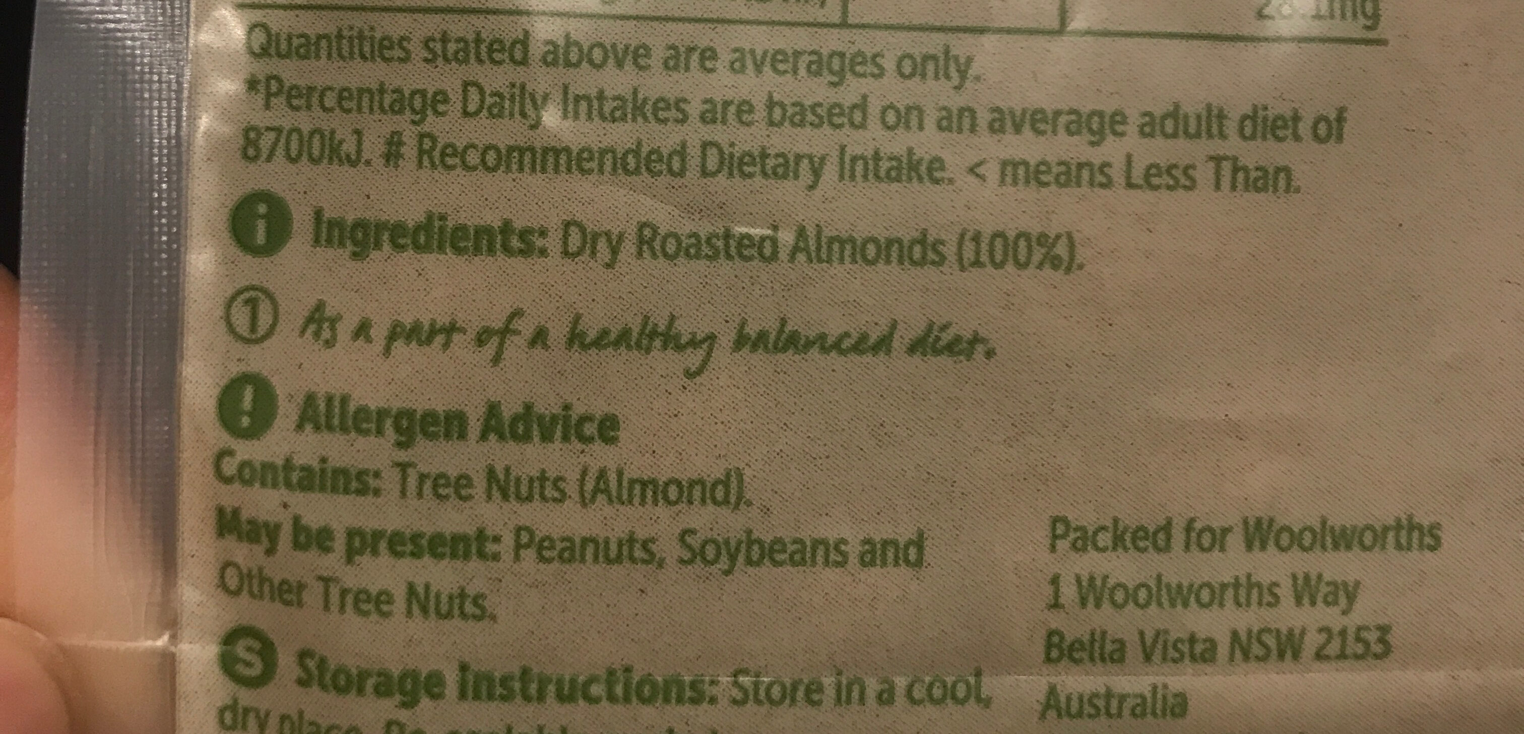 Dry roasted almonds - Ingredients
