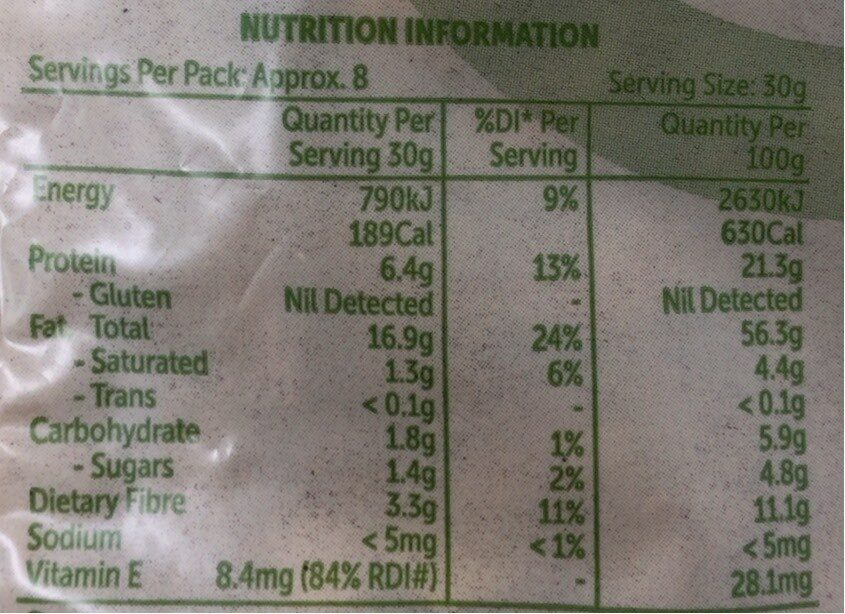 Dry roasted almonds - Nutrition facts - en