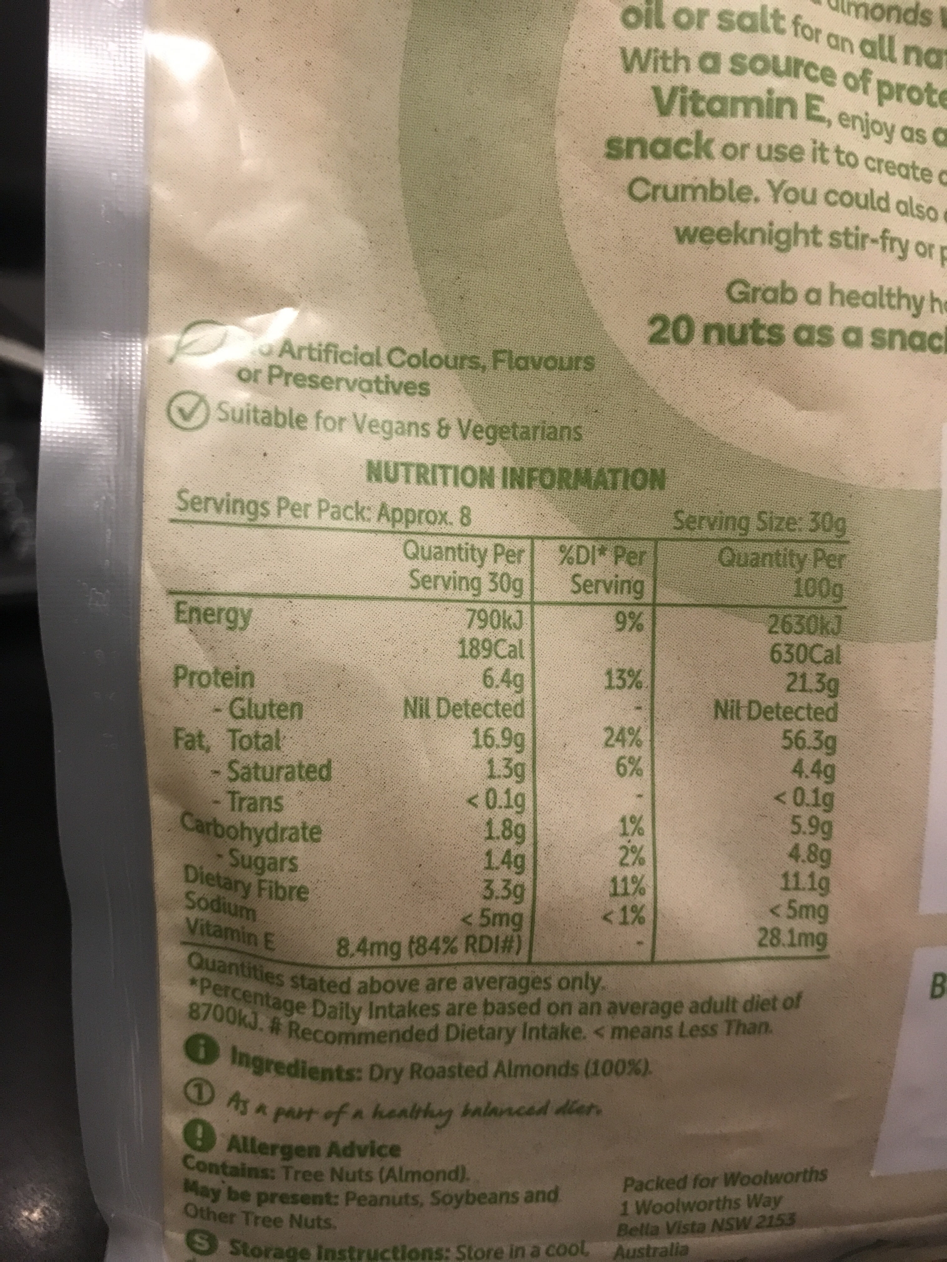 Dry roasted almonds - Nutrition facts