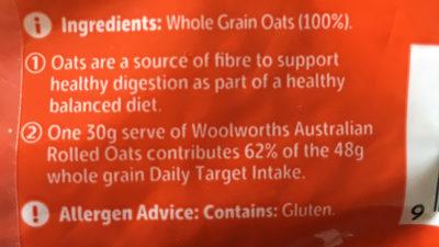 Australian Rolled Oats - Ingrédients - en