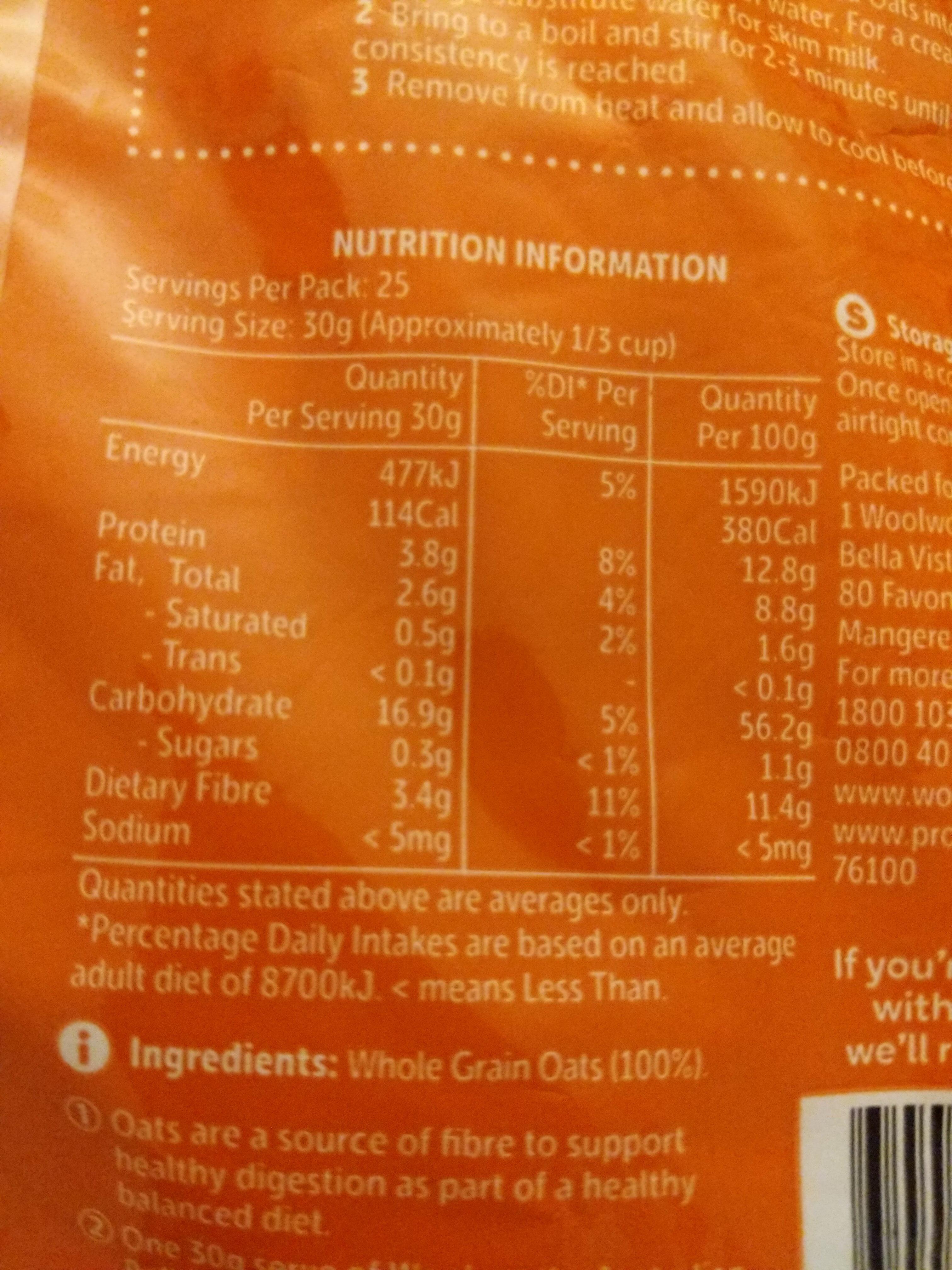 Australian Rolled Oats - Nutrition facts - en
