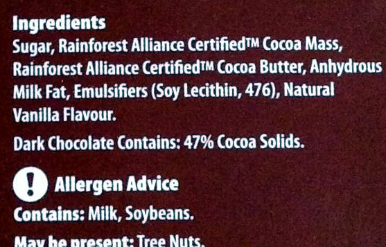 Dark Chocolate - Ingredients