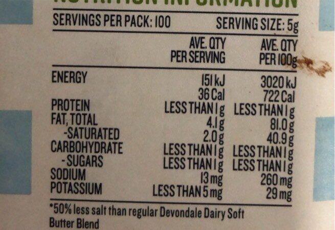 Dairy soft sakt reduced - Nutrition facts - en