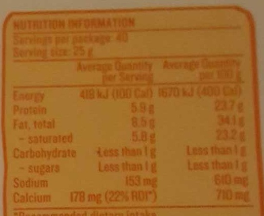 Devondale Our Creamy Colby Cheese - Nutrition facts - en