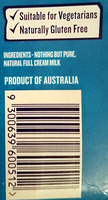 Devondale Full Cream Milk Longlife - Ingredients - en