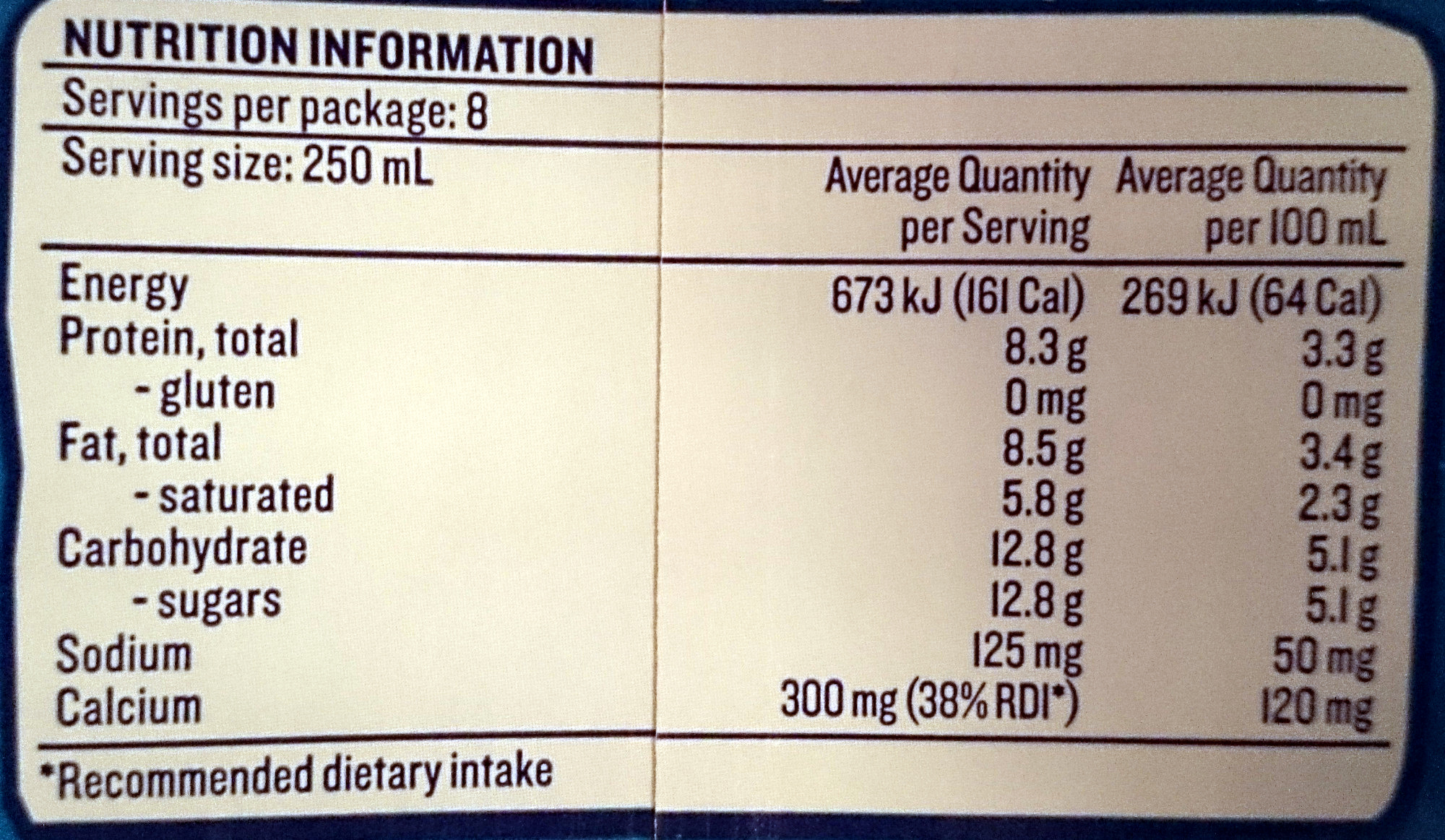 Devondale Full Cream Milk Longlife - Nutrition facts - en