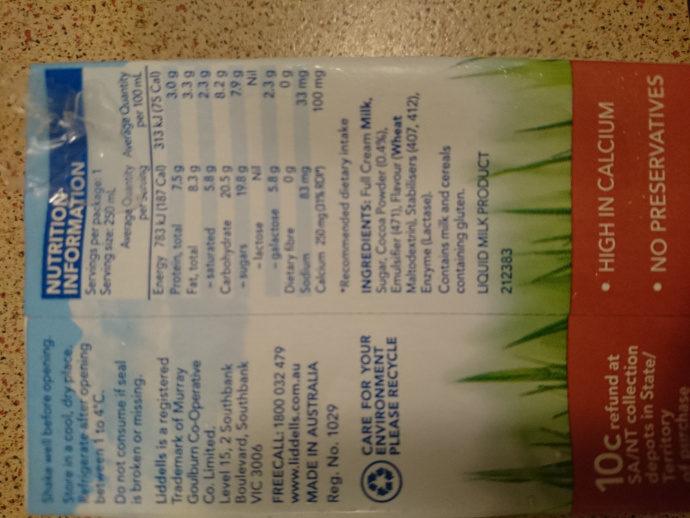 chocolate milk - Ingredients - en