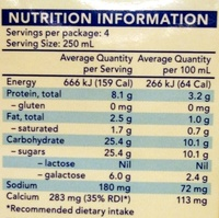 Liddels Lactose Free Chocolate Milk - Nutrition facts