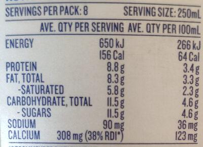 Full Cream Fresh Milk - Nutrition facts - en