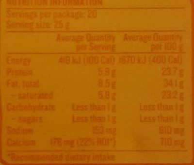 Devondale Our Creamy Colby - Nutrition facts