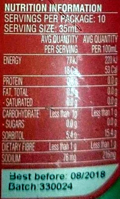 Queen Maple Flavoured Syrup - Nutrition facts