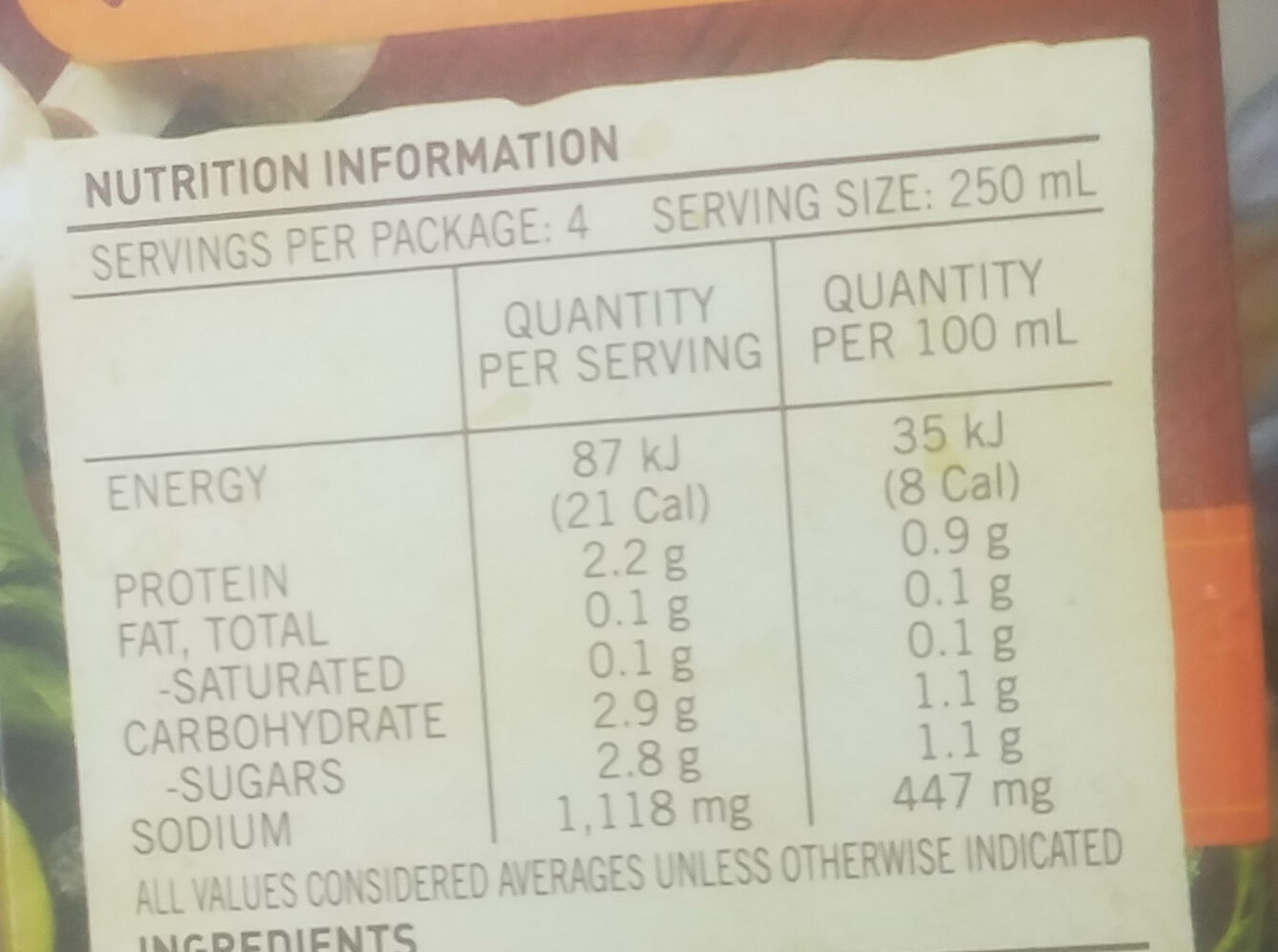 Real Stock - Chicken - Nutrition facts - en