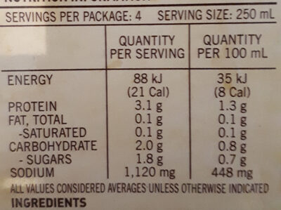 Beef Stock - Nutrition facts