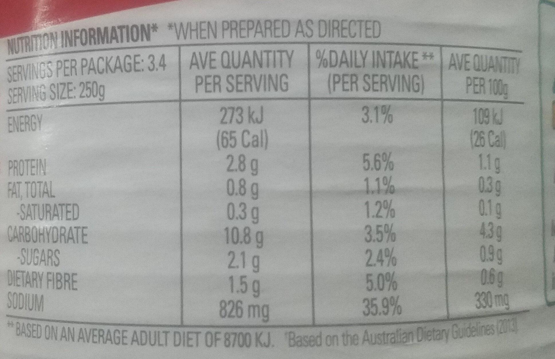 Condensed Vegetable & Beef - Nutrition facts - en