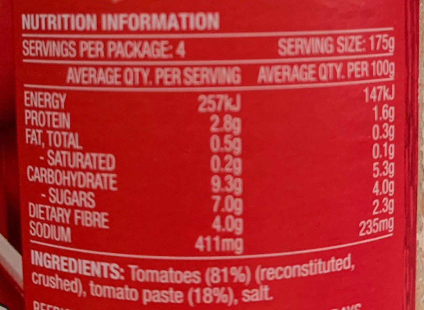 Passata - Nutrition facts - en