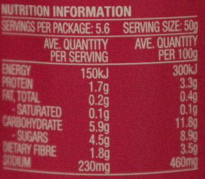 Leggo's Tomato Paste Triple Concentrate - Nutrition facts - en