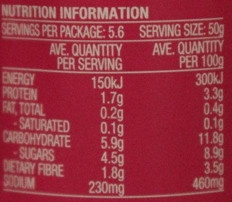 Leggo's Tomato Paste Triple Concentrate - Nutrition facts