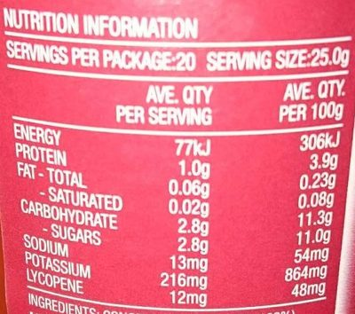 Tomato paste no added salt - Nutrition facts - en