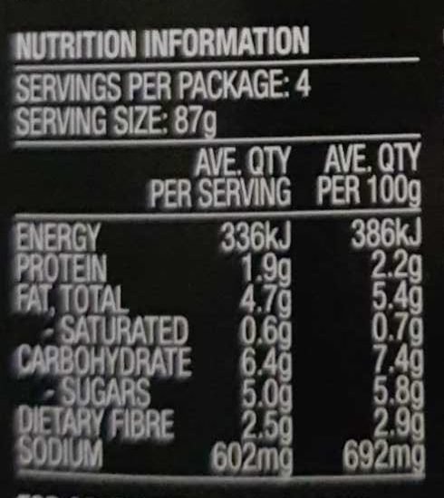 Stir through - Nutrition facts - en