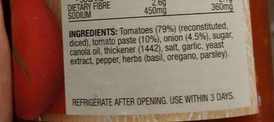 Napoletana Pasta Sauce - Ingredients