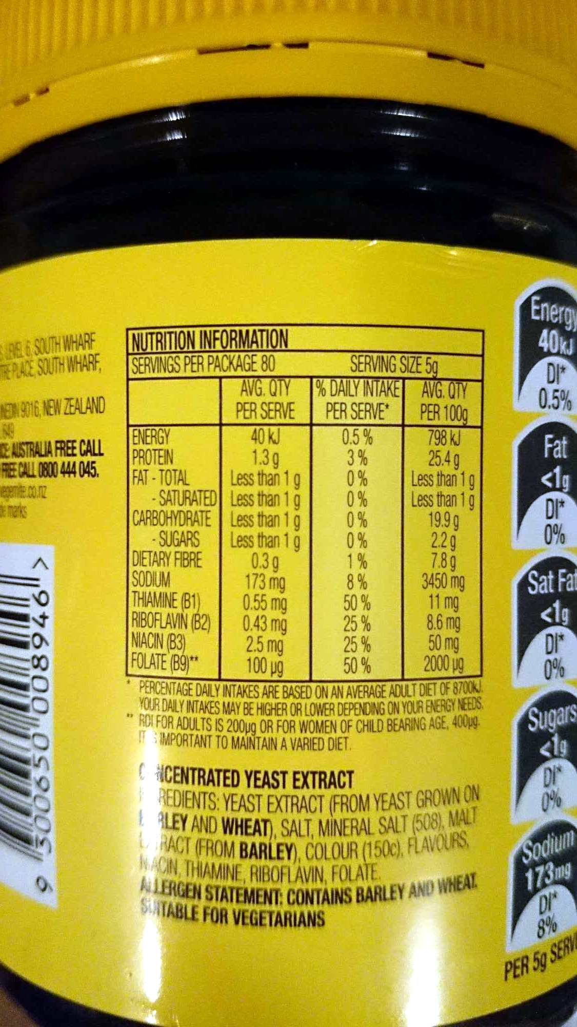 Vegemite 455g - Nutrition facts