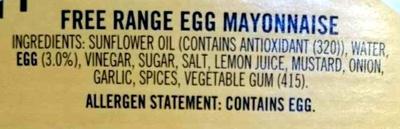 Free Range Egg Mayonaise - Ingredients - en