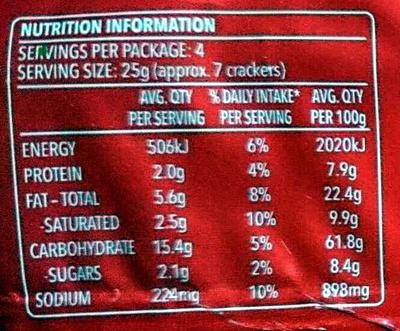 Ritz Snackz Sour Cream & Onion Flavour - Nutrition facts - en