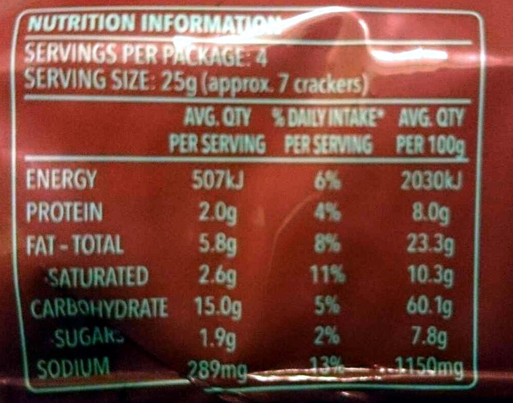Ritz Snackz Smoky Bacon Flavour - Nutrition facts