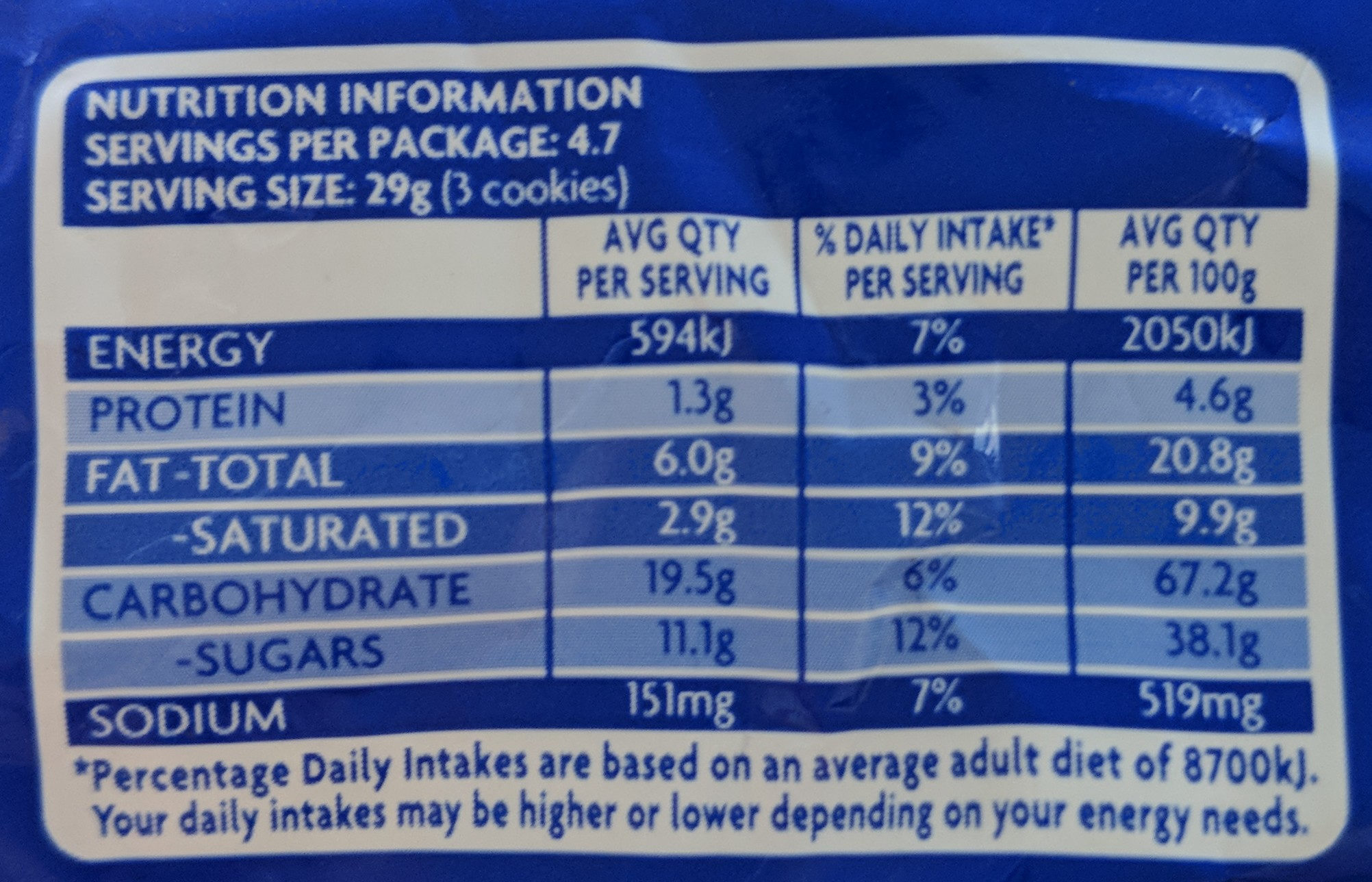 Oreo - Nutrition facts - en