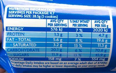 OREO original - Nutrition facts - en