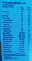 Up and go - Nutrition facts - en