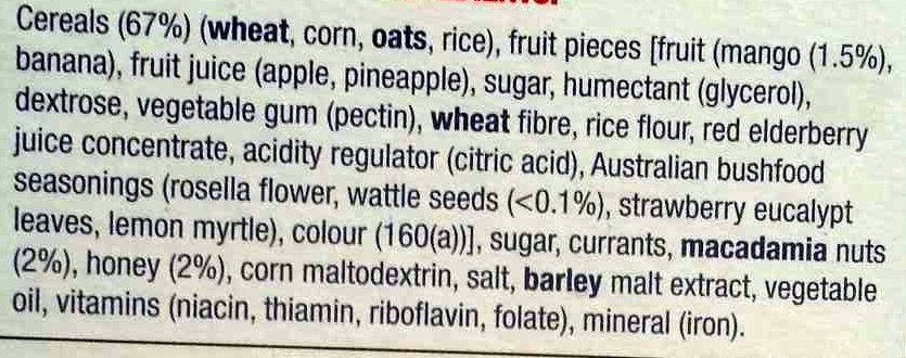 Australian Bush Foods Breakfast - Dick Smith - 500G - Ingredients