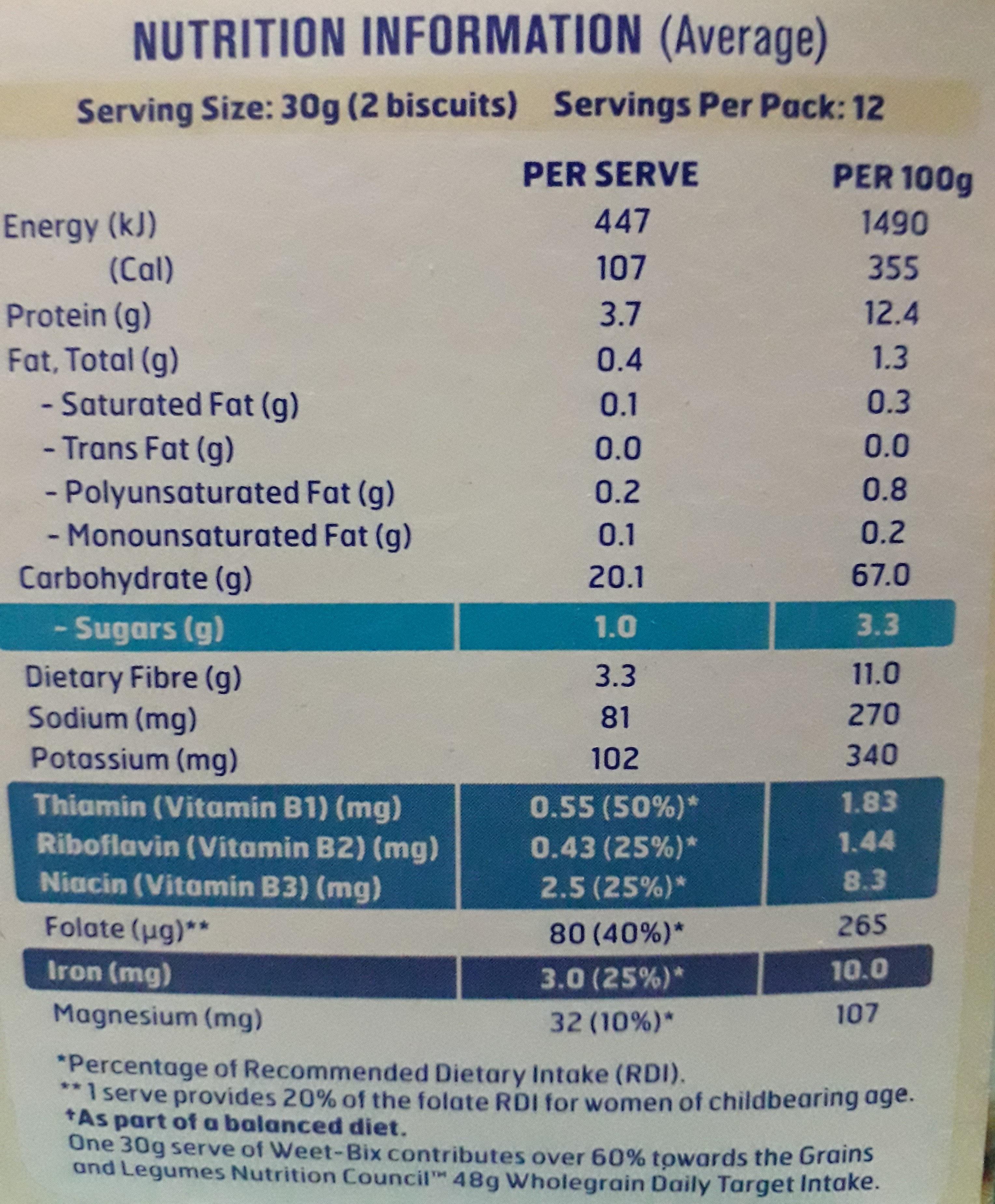 Weet-bix - Nutrition facts - en