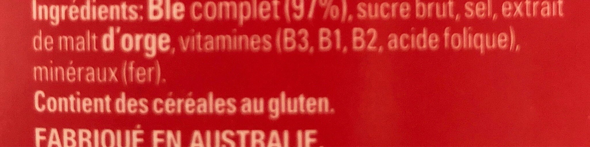 Weet-bix - Ingredients