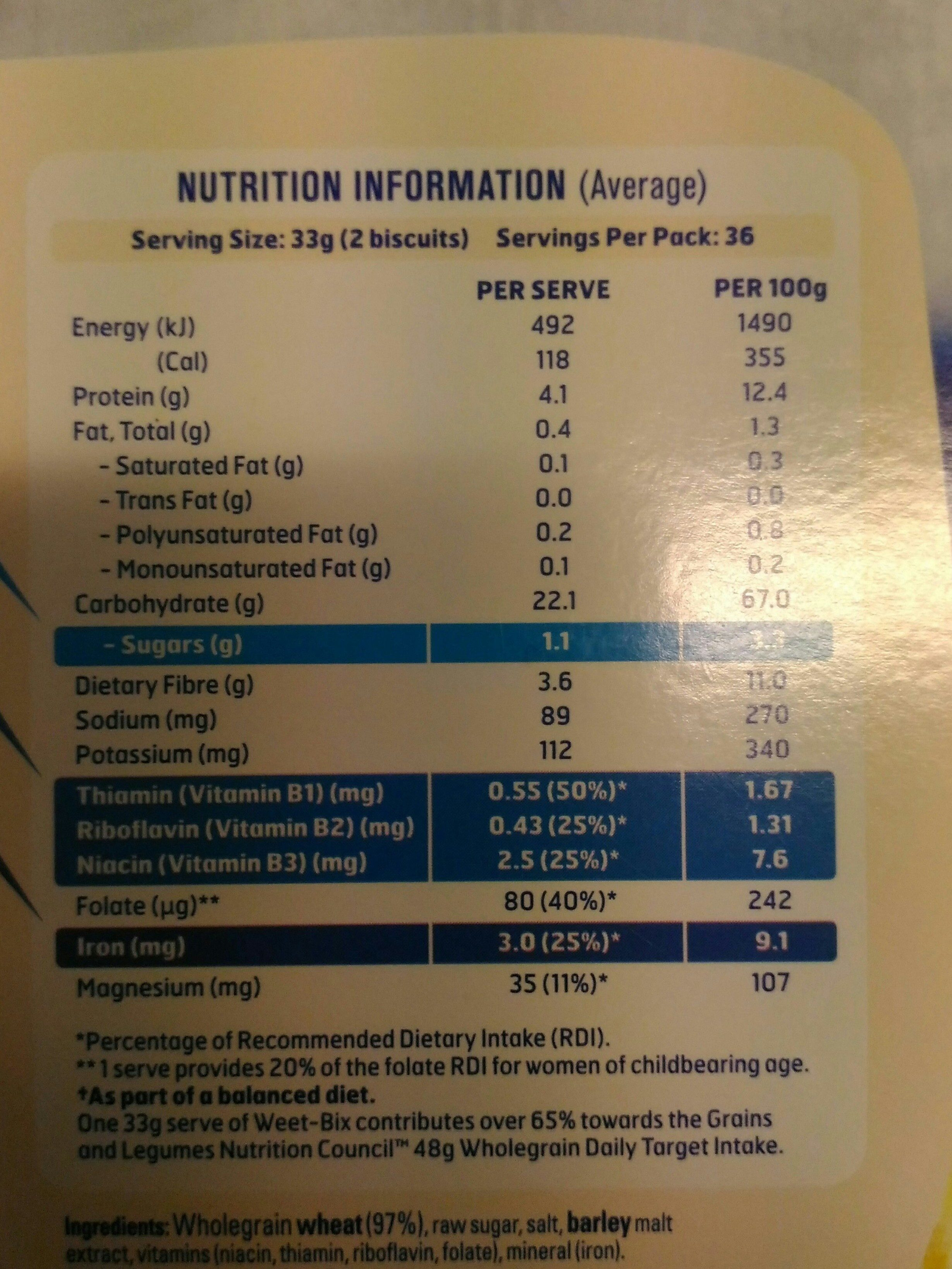 Weet-bix - Nutrition facts