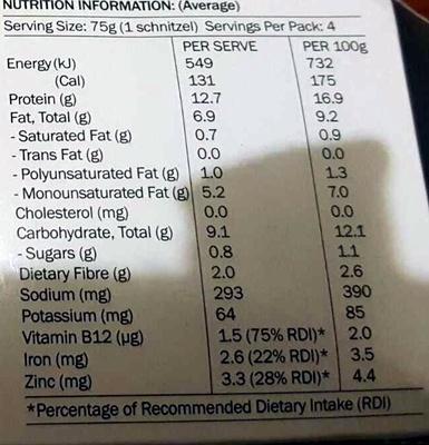 Vegie Delights Tender Crumbed Schnitzel - Nutrition facts