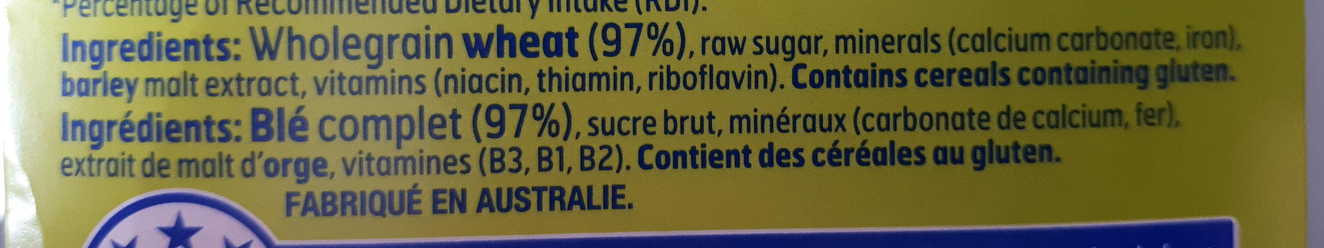 Weet-bix for Kids - Ingredients - en