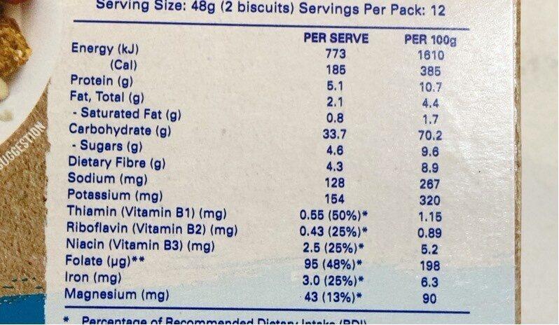 Sanitarium Weetbix Wheat Biscuits Multi Grain - Informations nutritionnelles - en