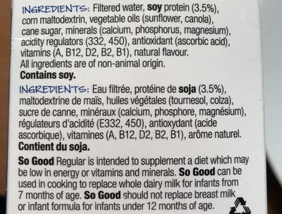 So Good Soy Milk - Ingredients - fr