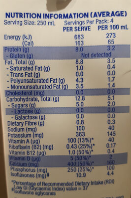 So Good Soy Milk - Nutrition facts - en