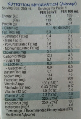 Soy Milk, Lite - Nutrition facts - en