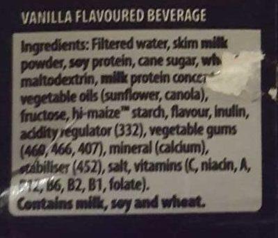 Up & Go Energize Vanilla - Ingredients