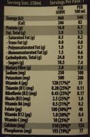 Up & Go Energize Vanilla - Nutrition facts